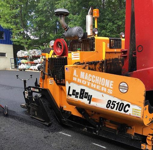 leeboy asphalt paver working on road