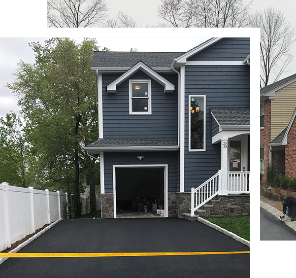 home with freshly paved driveway
