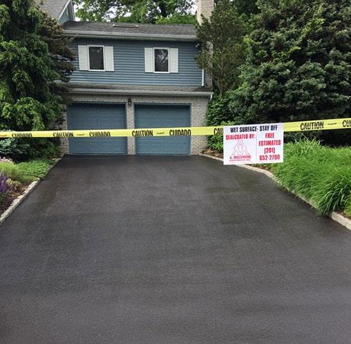 driveway with fresh asphalt
